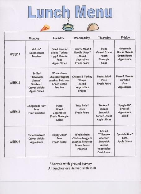 Preschool Snack Menu Ideas