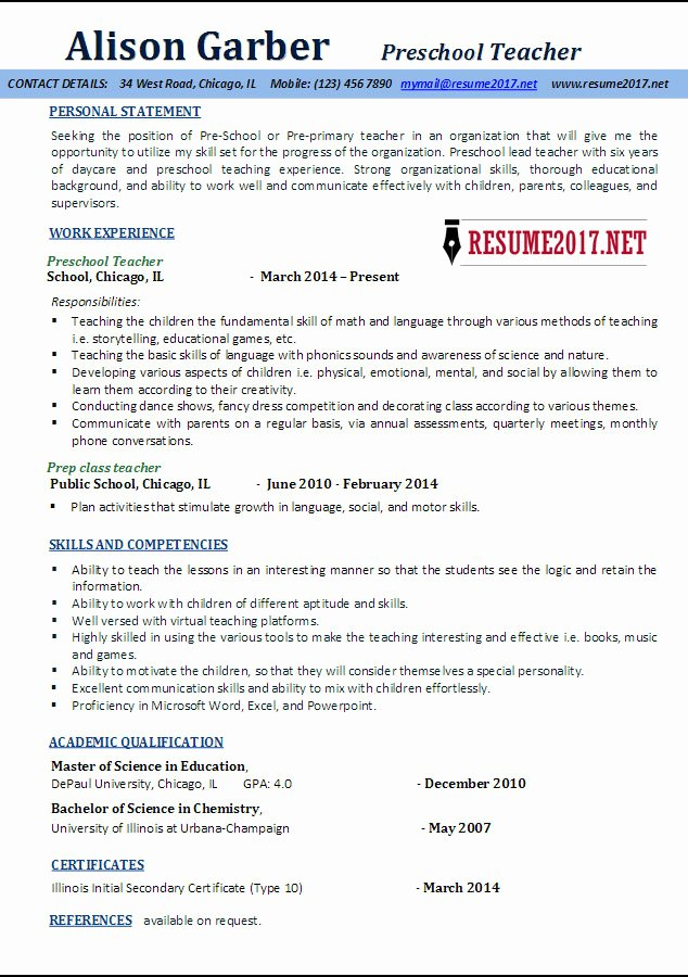 Preschool Teacher Resume Samples 2017