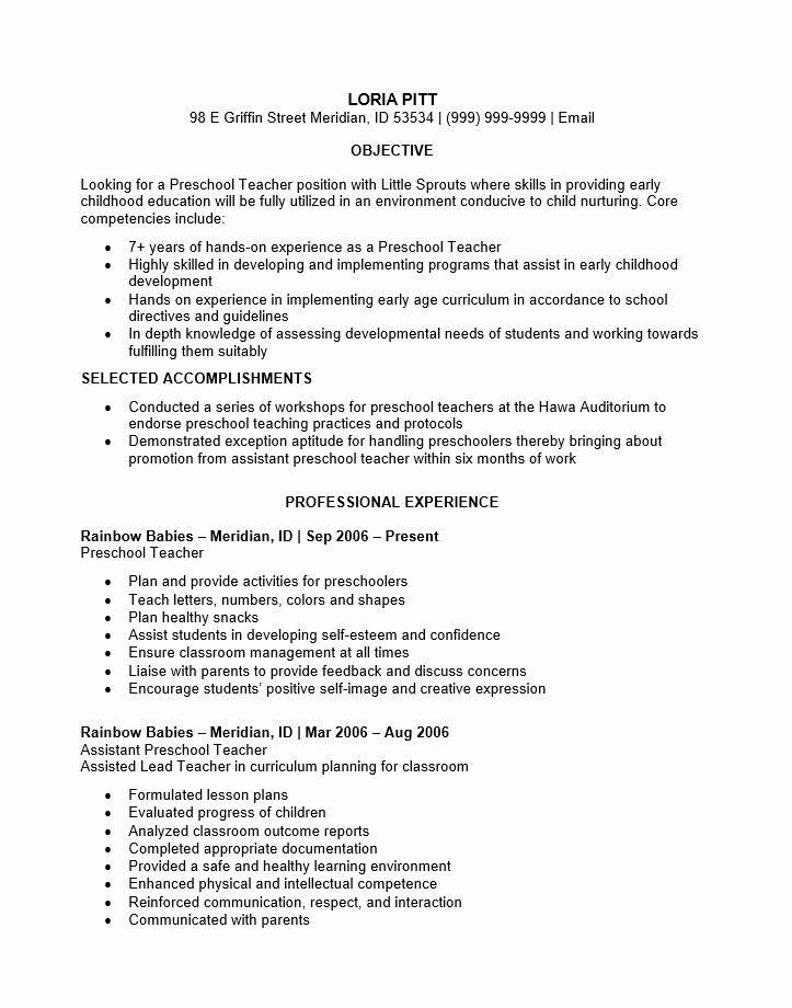Preschool Teacher Resume Samples Best Resume Collection