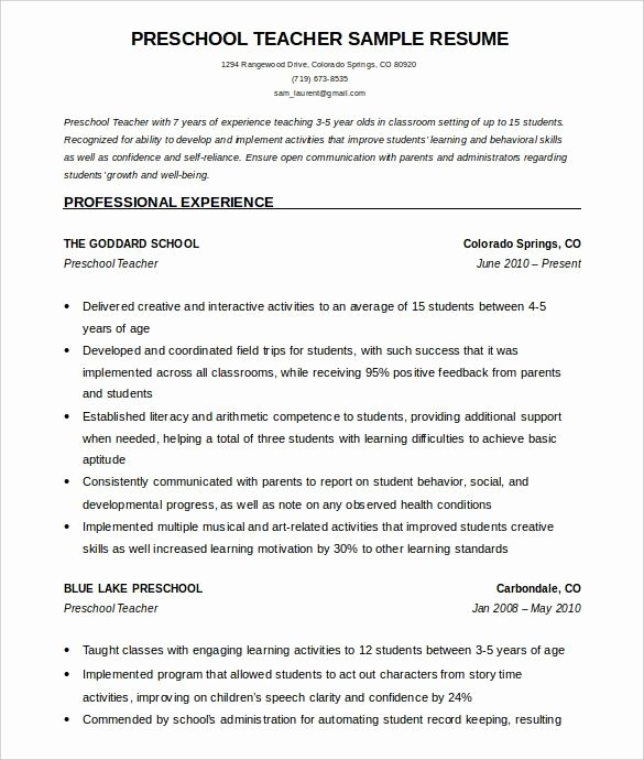 Preschool Teacher Resume Template Best Resume Collection