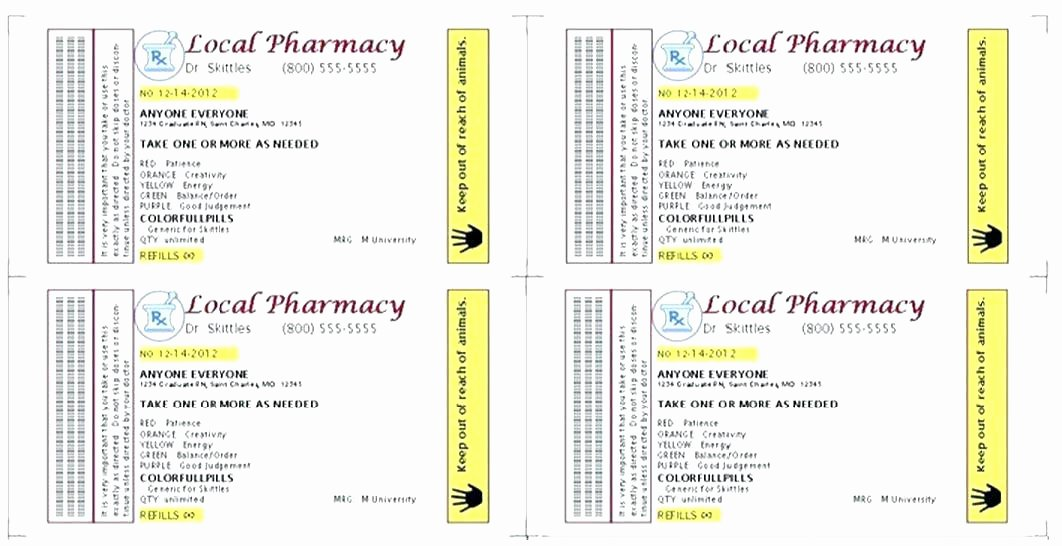 Prescription Bottle Label Template Walgreens Prescription