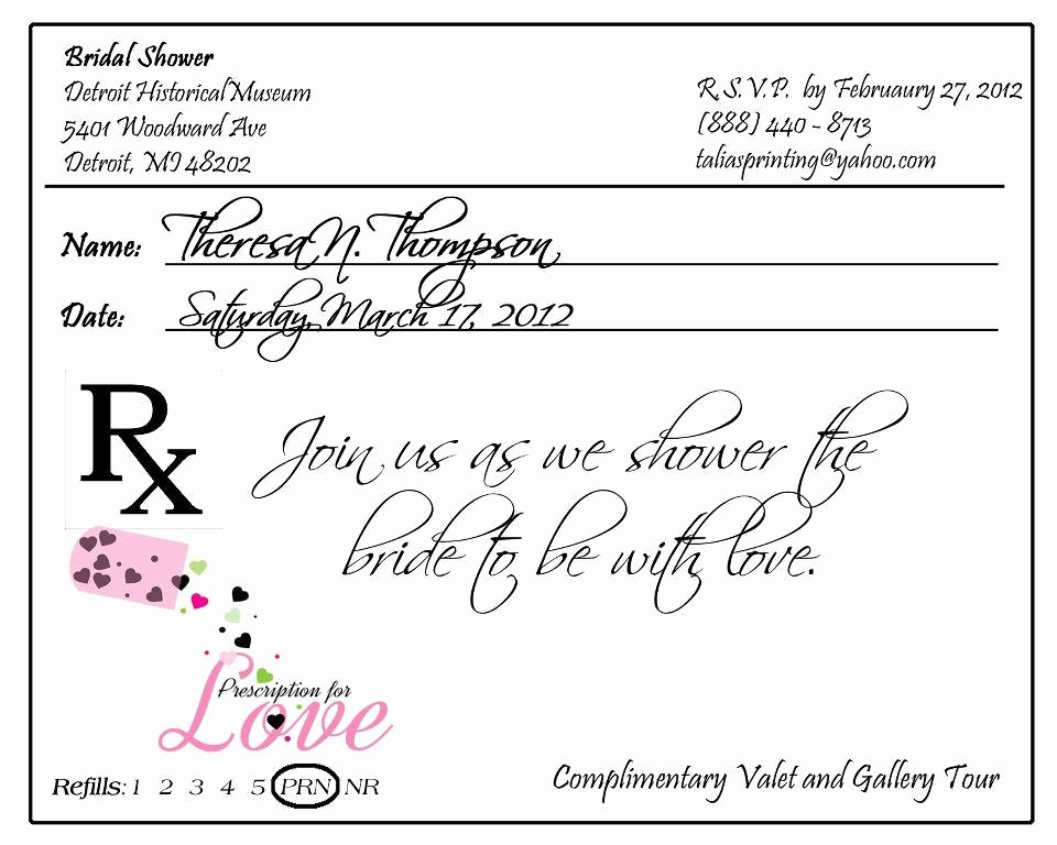 Prescription Pad Invitation Custom Listing for Krista