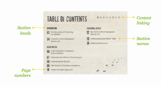 Presentation Design Inspiration Table Contents