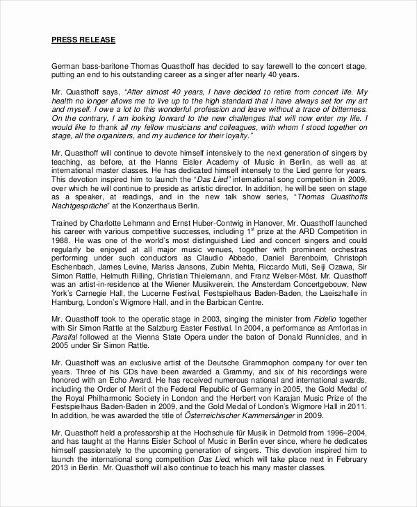 Press Release Template 20 Free Word Pdf Document