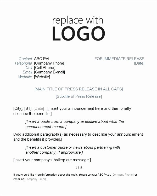 Press Release Template Free Word Document Downloads