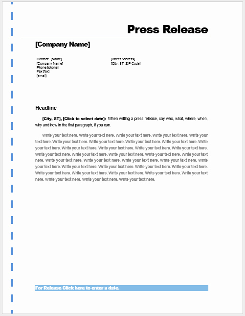 Press Release Template – Microsoft Word Templates