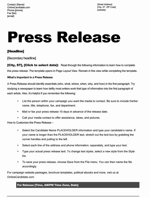 Press Release Template Sample