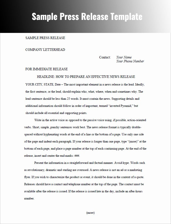 Press Release Templates Free Word Pdf Doc formats
