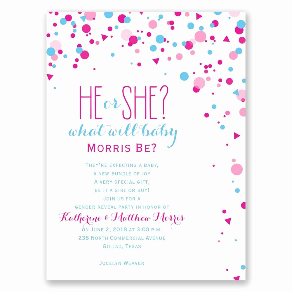 Pretty Confetti Petite Gender Reveal Invitation