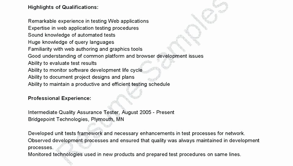 Pretty Entry Level Qa Tester Resume Gallery 27