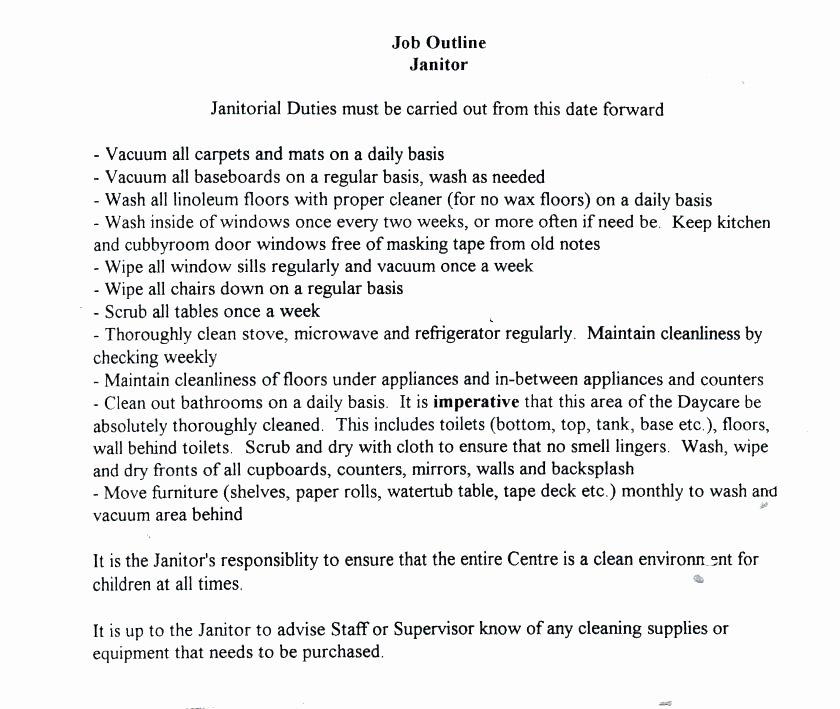 Pretty Janitor Job Duties Resume Gallery