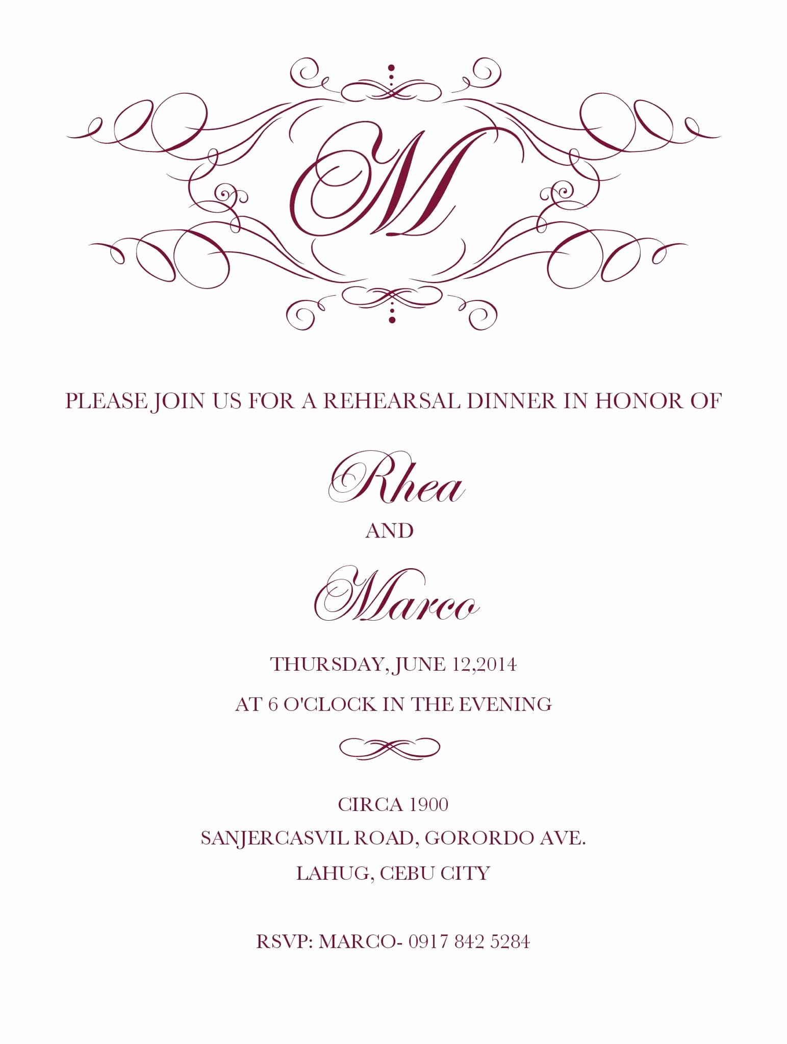 Pretty Rehearsal Dinner Invitation Template Free