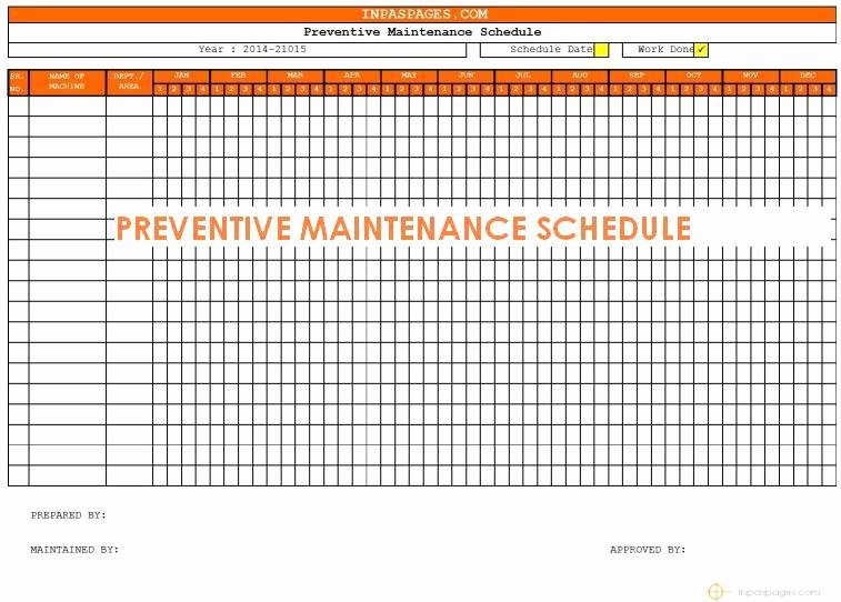 Preventive Maintenance Schedule Maintenance Task