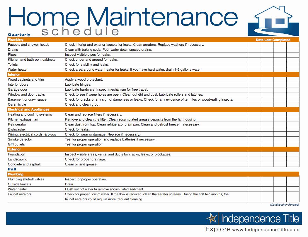 Preventive Maintenance Spreadsheet
