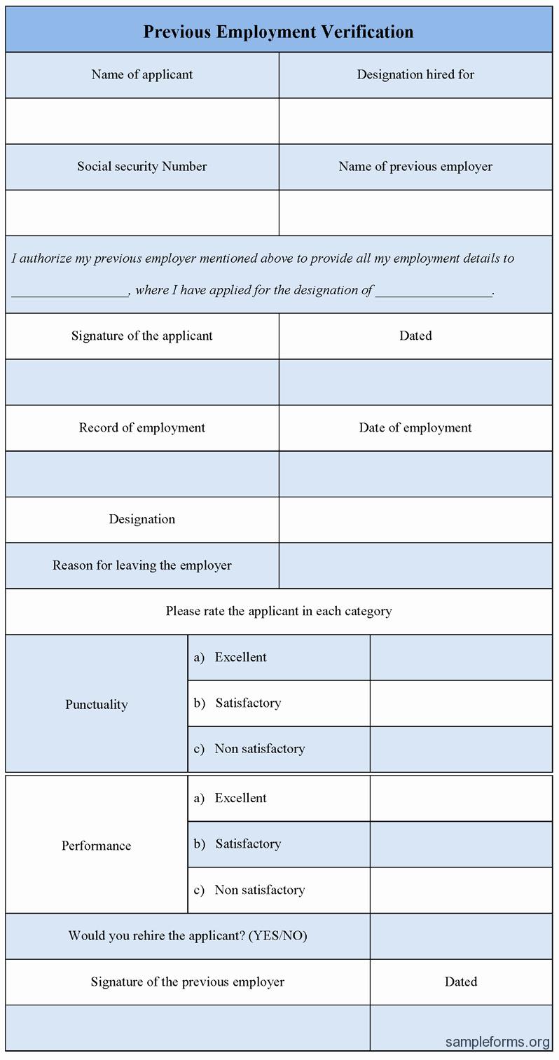 Previous Employment Verification form Sample forms
