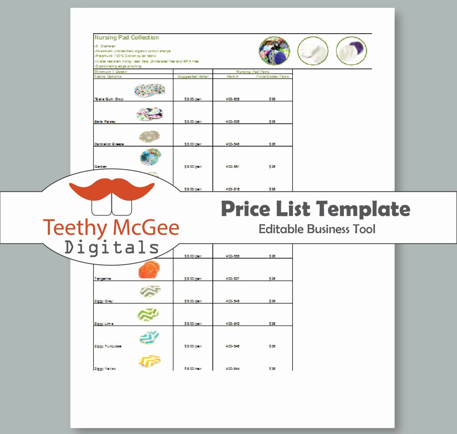 Price List Template Instant Download by Teethymcgeedigitals