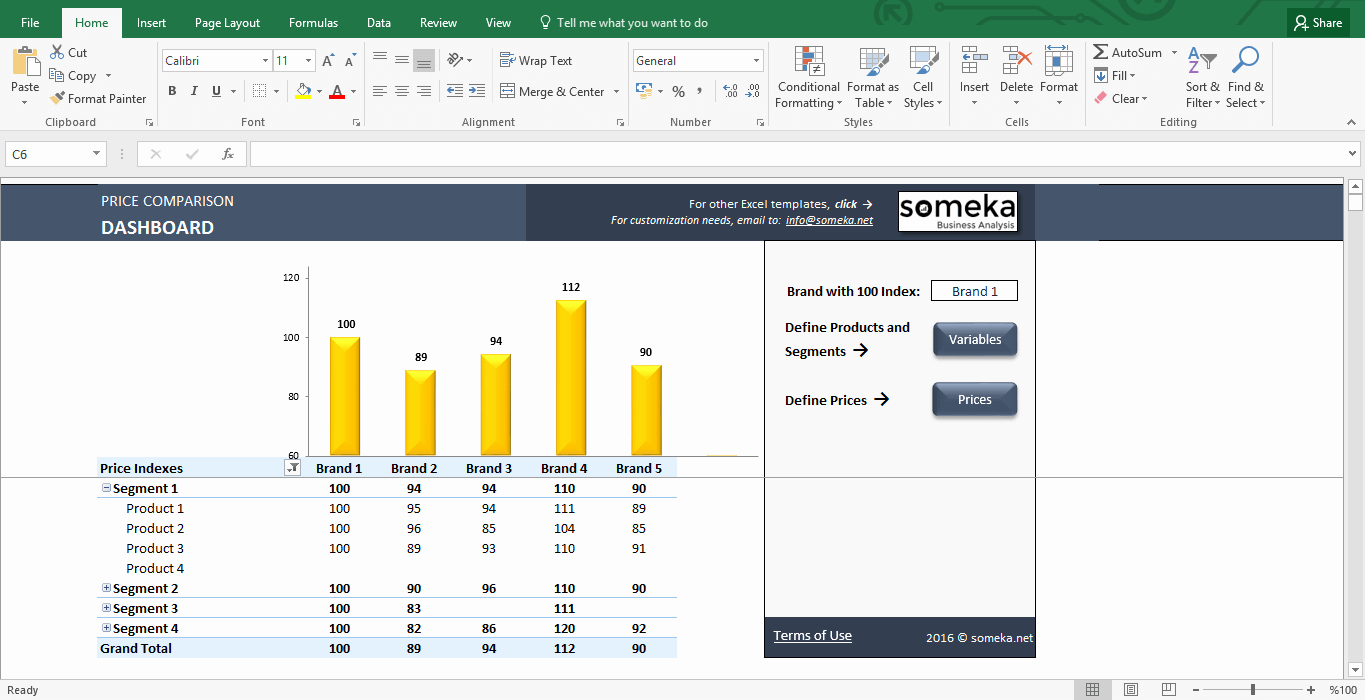 Price Parison and Analysis Excel Template for Small