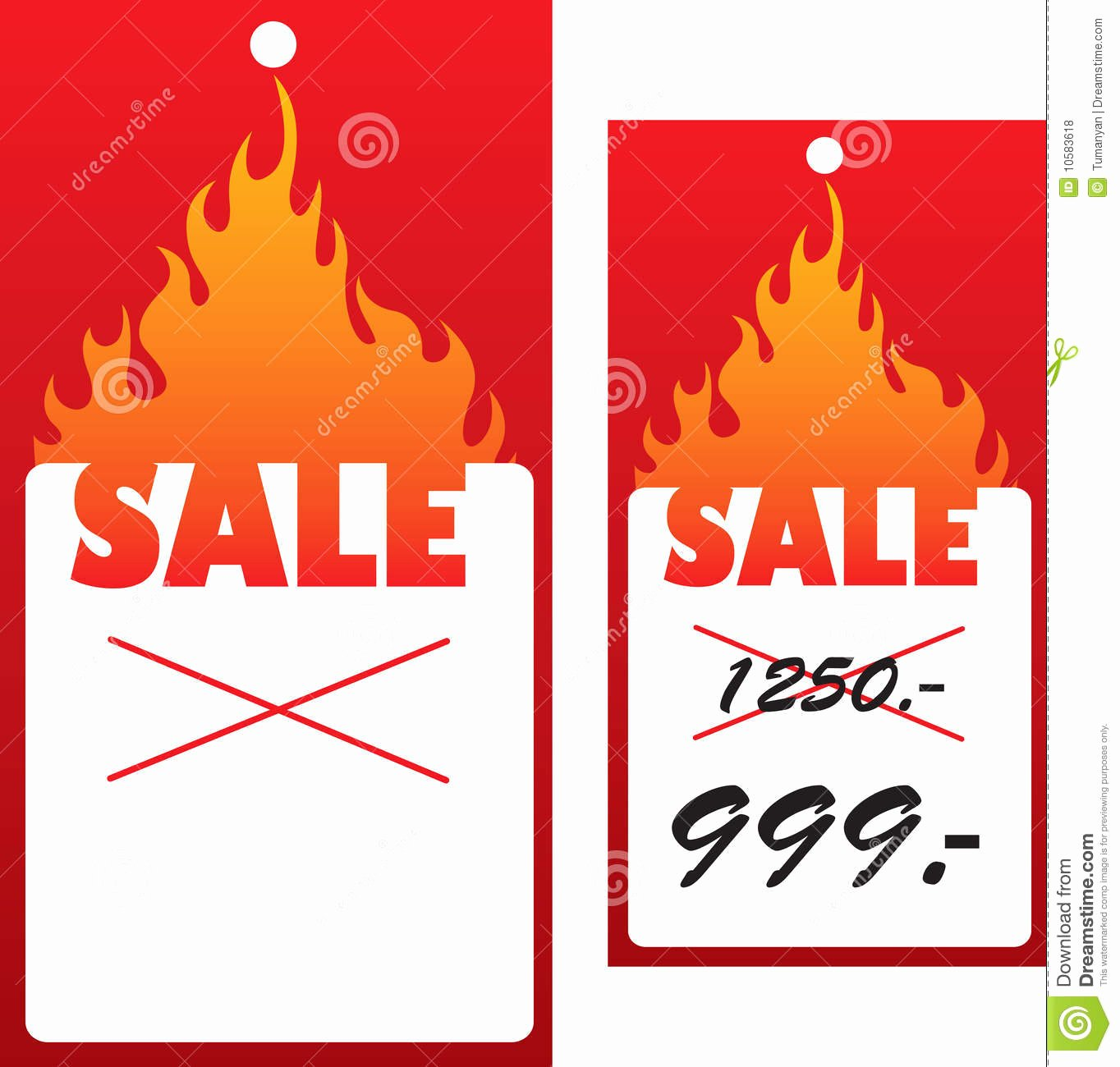 Price Tag with Flame Stock Vector Image Of Economy