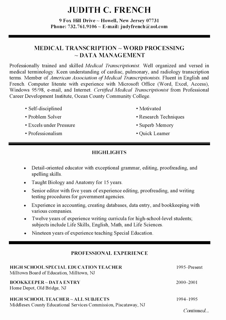 Primary High School Teacher Resume