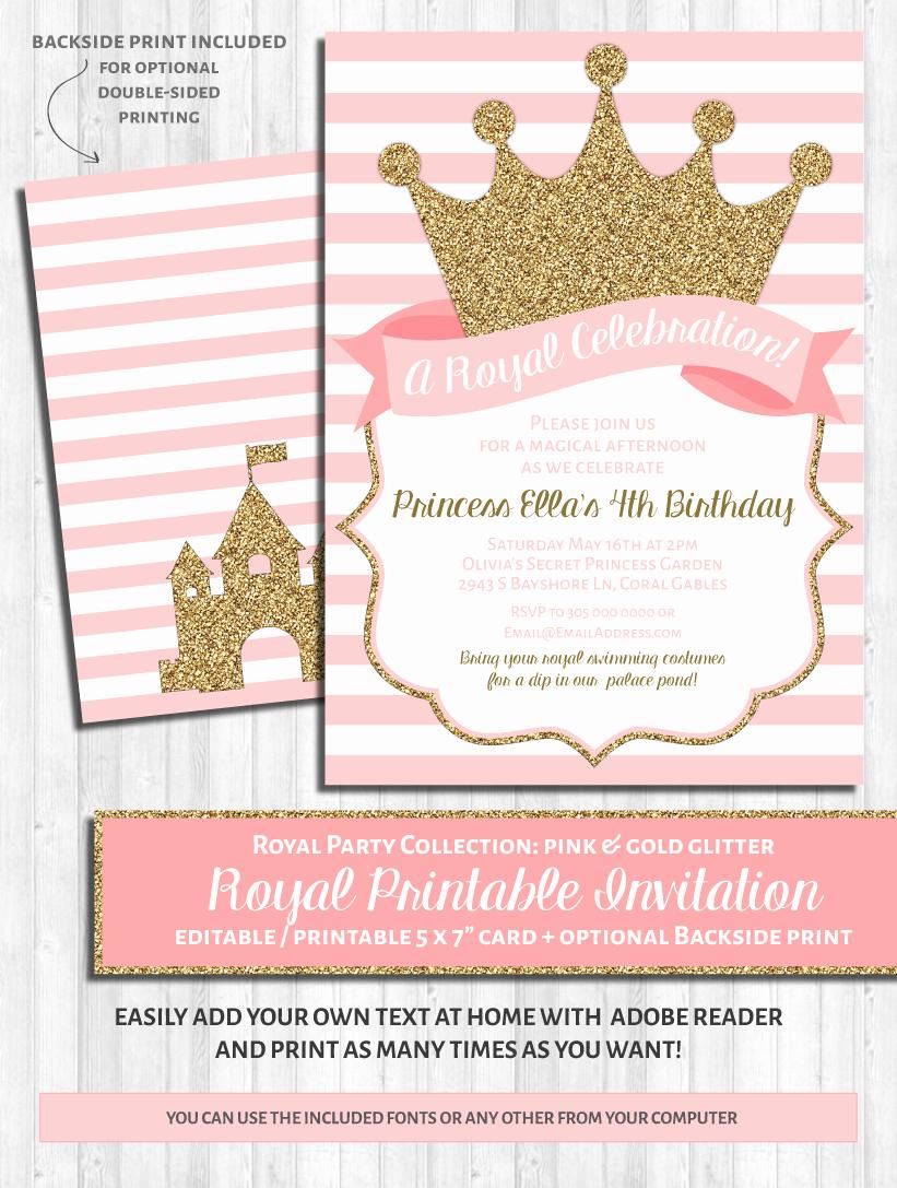 Princess Party Invitations Pink & Gold – Wonderbash