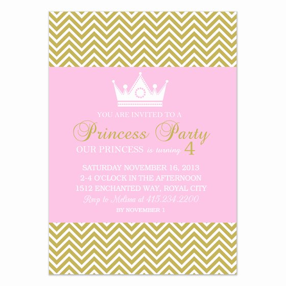 Princess Party Pink Gold Chevron Invitations & Cards On