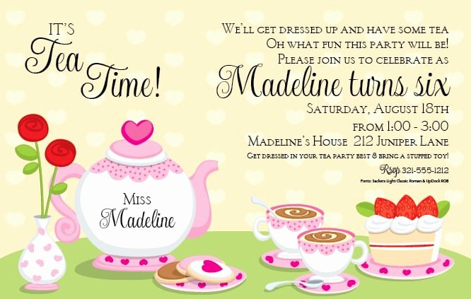 Princess Tea Party Invitation for Church