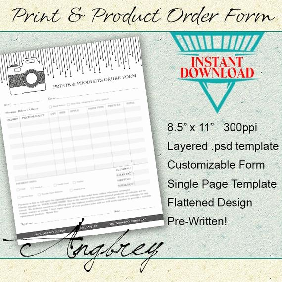 Print & Product order form for Graphers Shop