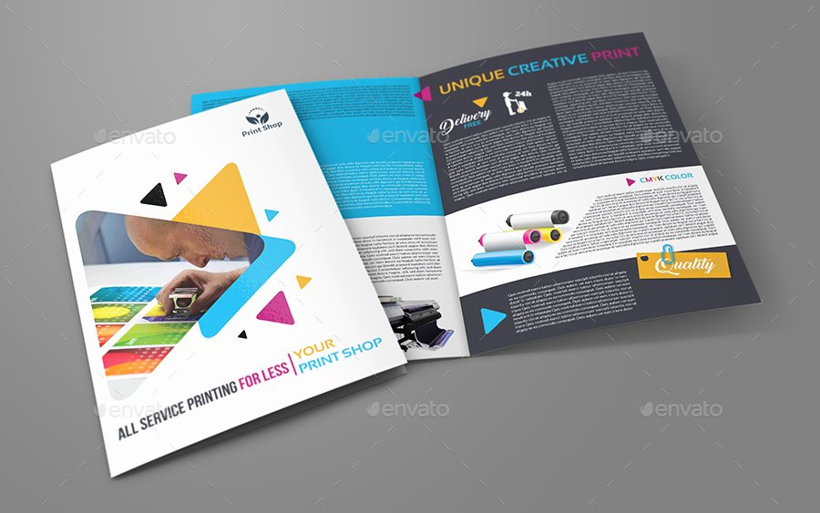 Print Shop Bi Fold Brochure Template by Ow