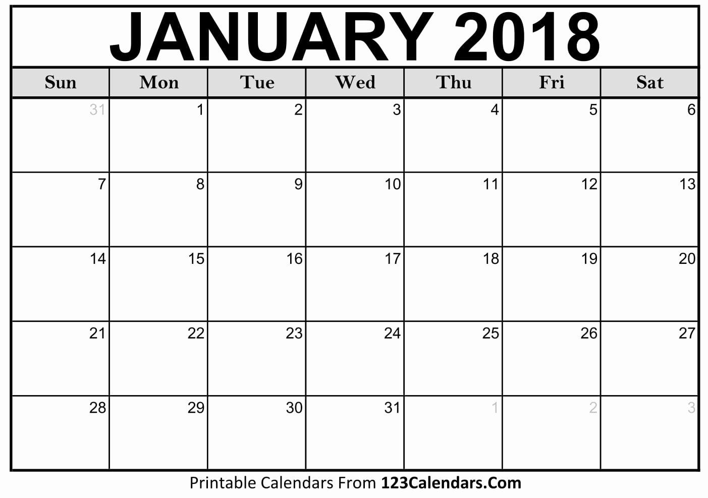 Printable 2018 Calendar 123calendars