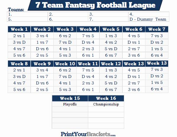 Printable 7 Team Fantasy Football League Schedule