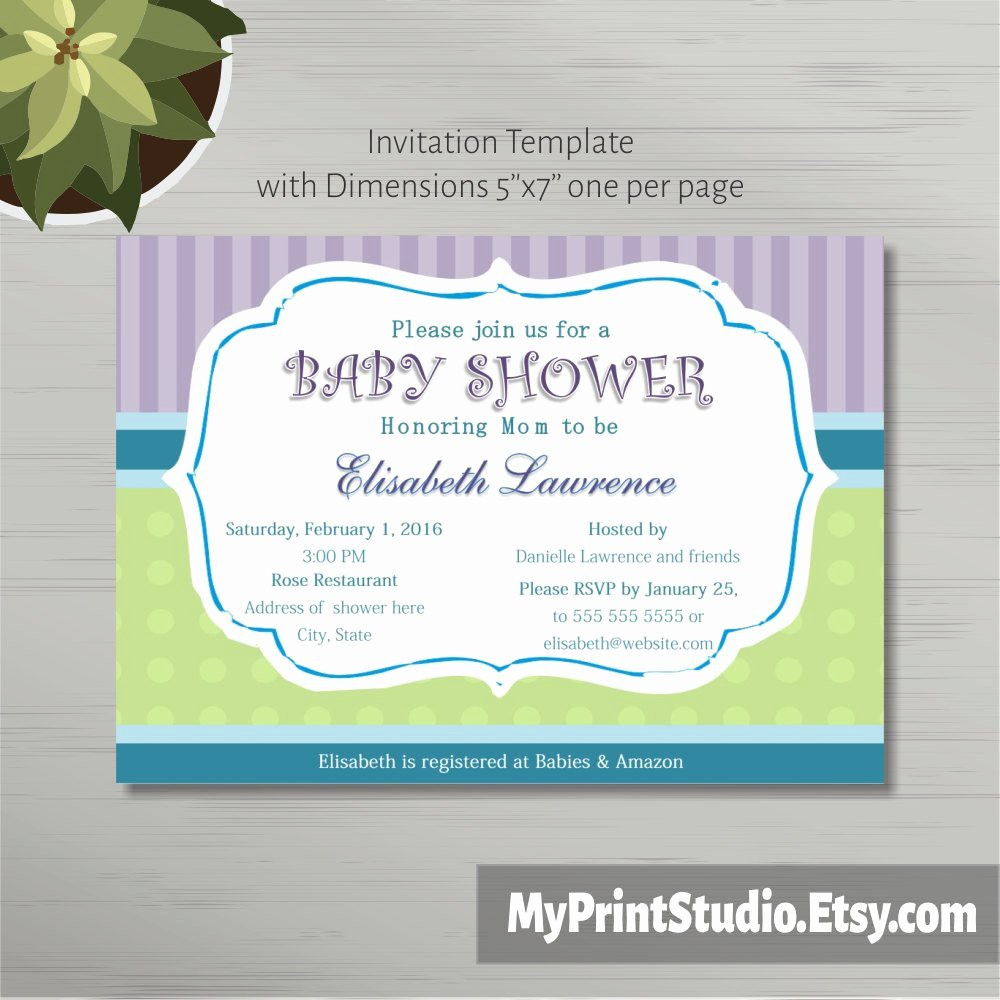 Printable Baby Shower Invitation Template In Ms Word Boy Girl