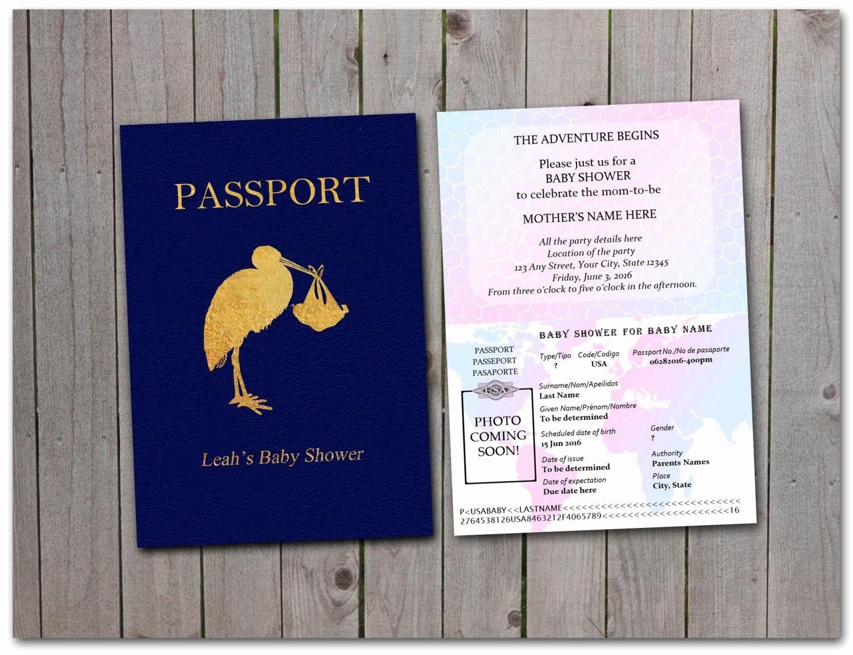 Printable Baby Shower Passport 5x7 Instant