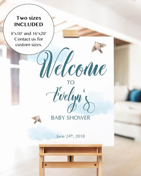 Printable Baby Shower Wel E Sign with Blue Watercolor