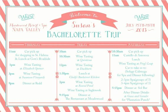Printable Bachelorette Weekend Itinerary Birthday Weekend