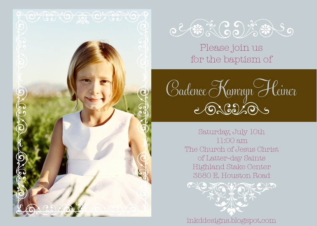 Printable Baptism Invitation Brown & Blue Lds by Inkddesigns