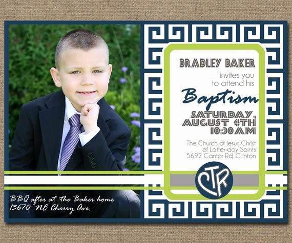 Printable Baptism Invitation with Lds Baptismal