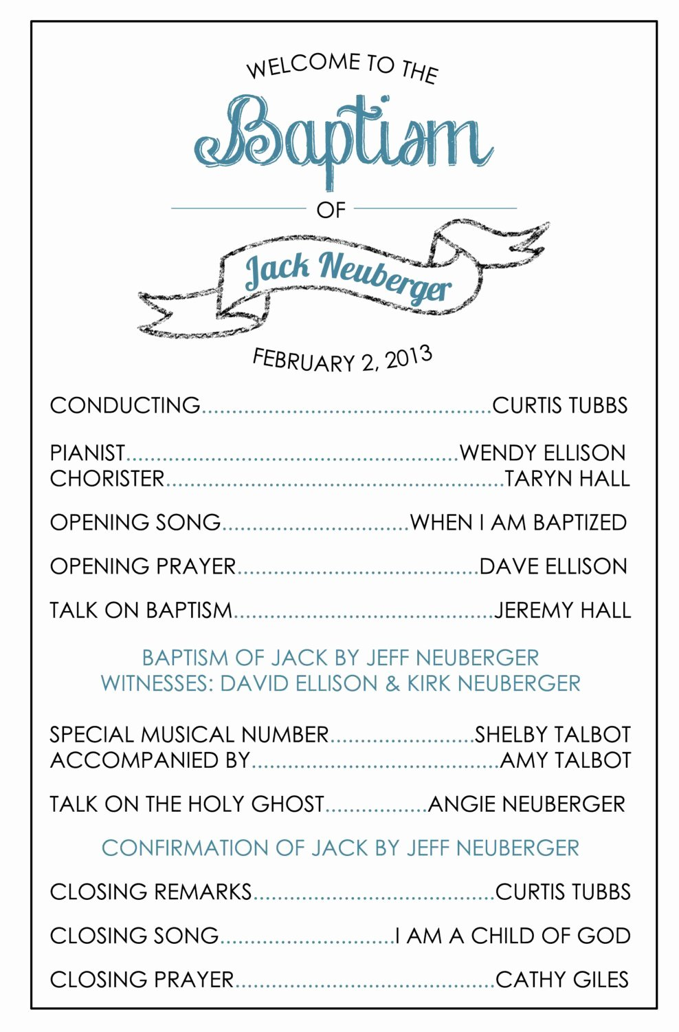 Printable Baptism Program Lds Girl Boy by Brendaneuberger