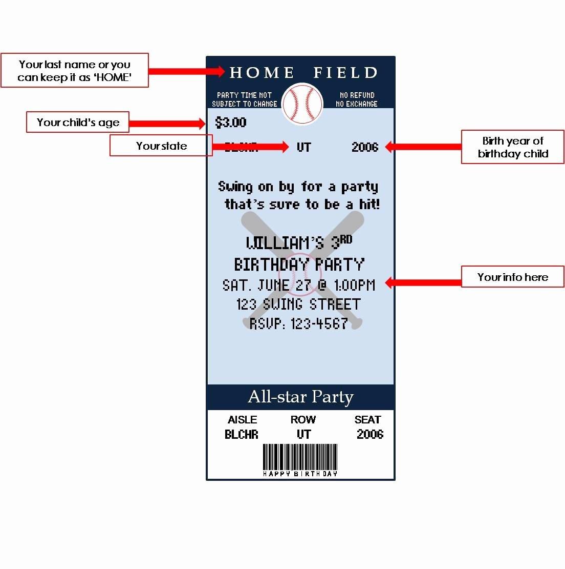 Printable Baseball Ticket Birthday Invitations