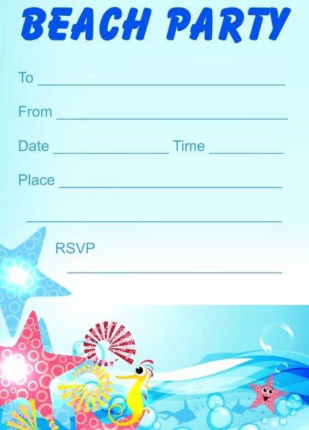 Printable Beach Party Invitations