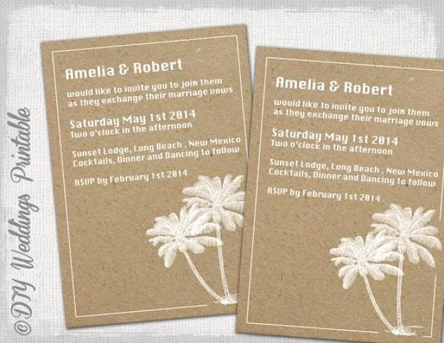 "Printable Beach Wedding Invitations Template ""destination"