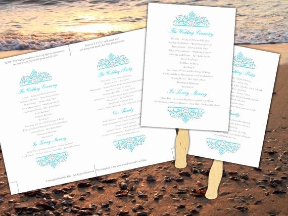 Printable Beach Wedding Program Fan Template by