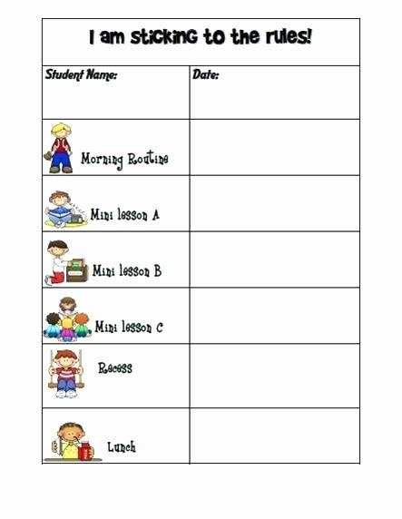 Printable Behavior Charts for Middle School Students Happy