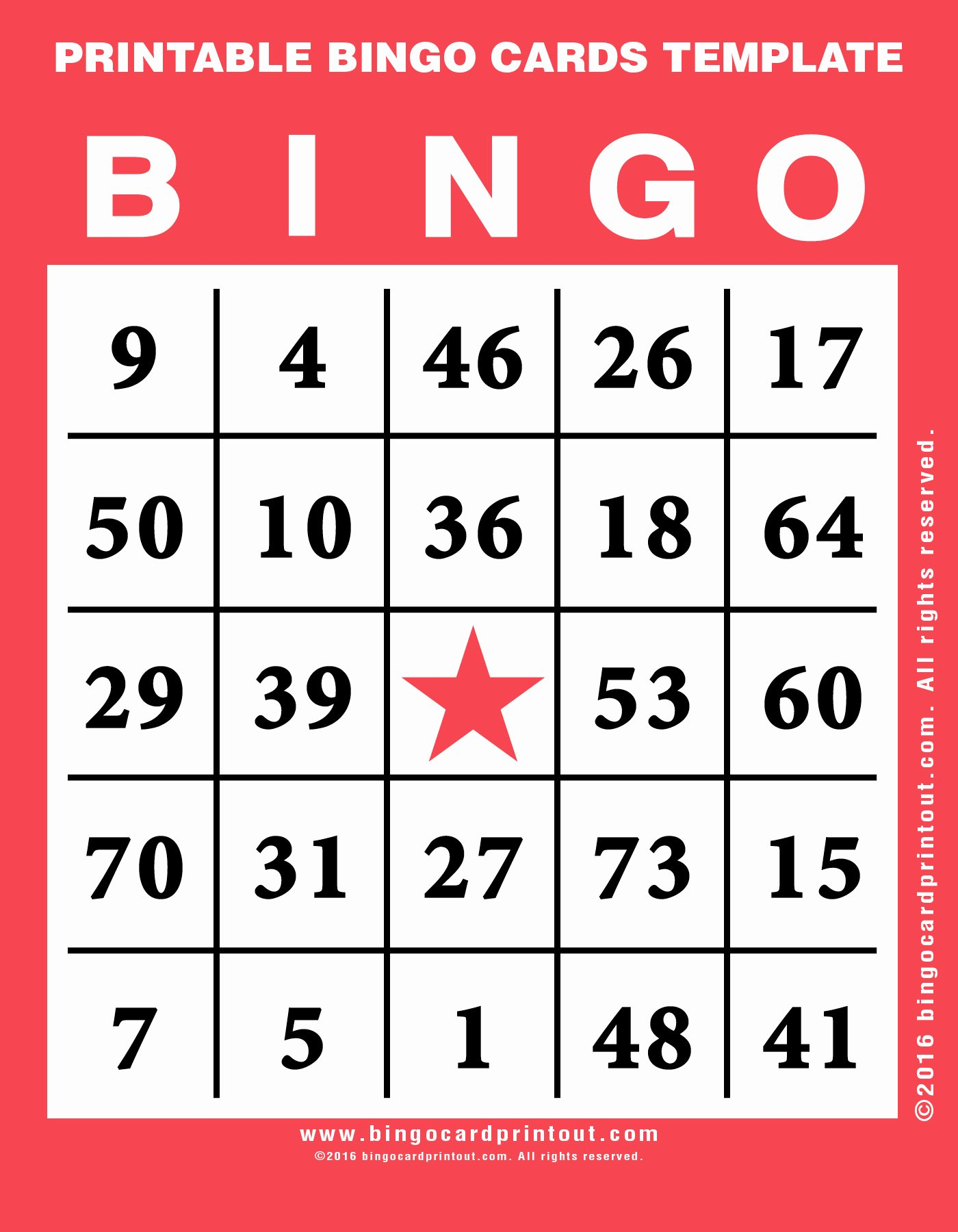 Printable Bingo Cards Template Bingocardprintout