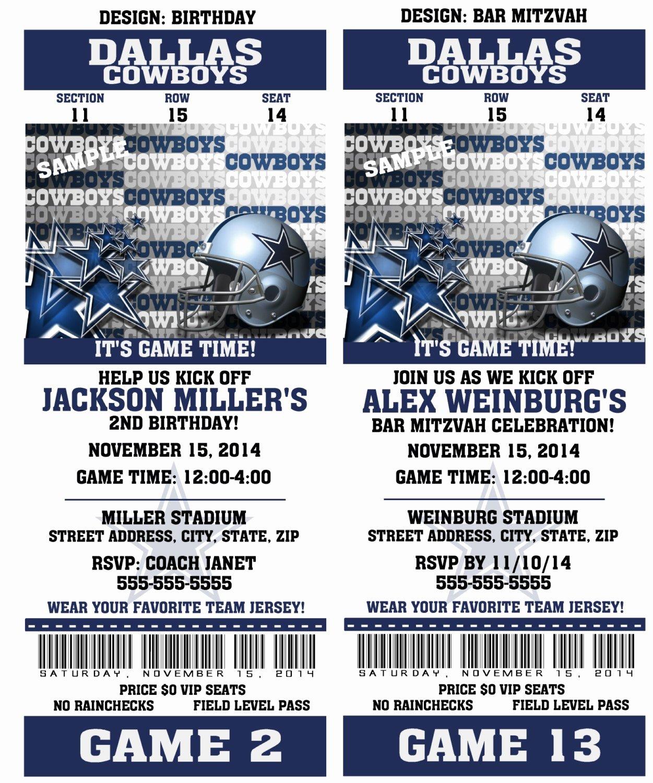 Printable Birthday Party Invitation Card Dallas Cowboys
