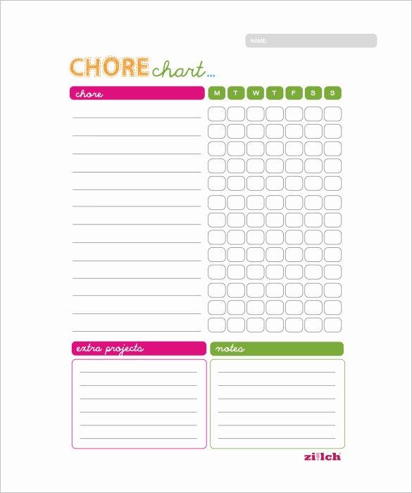 Printable Blank Chore Chart Template Uma Printable