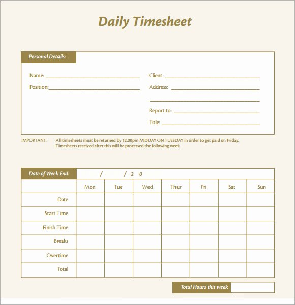 Printable Blank Excel Daily Timesheet Excel Daily