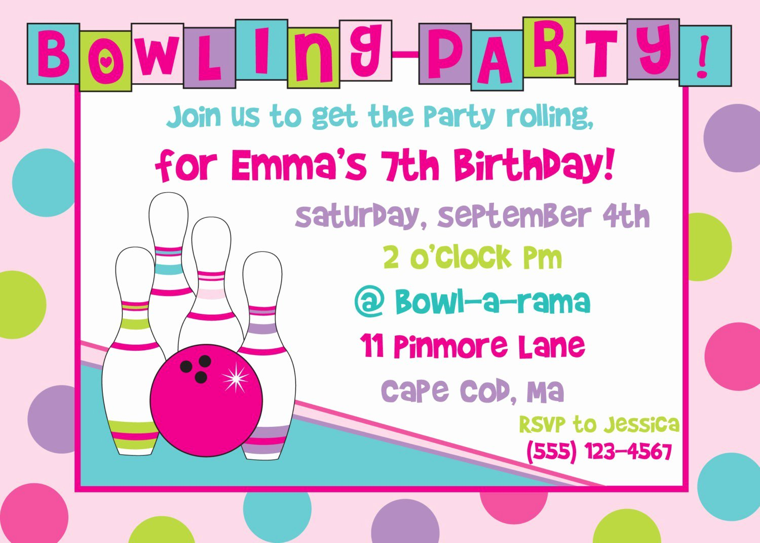printable bowling birthday party invitations