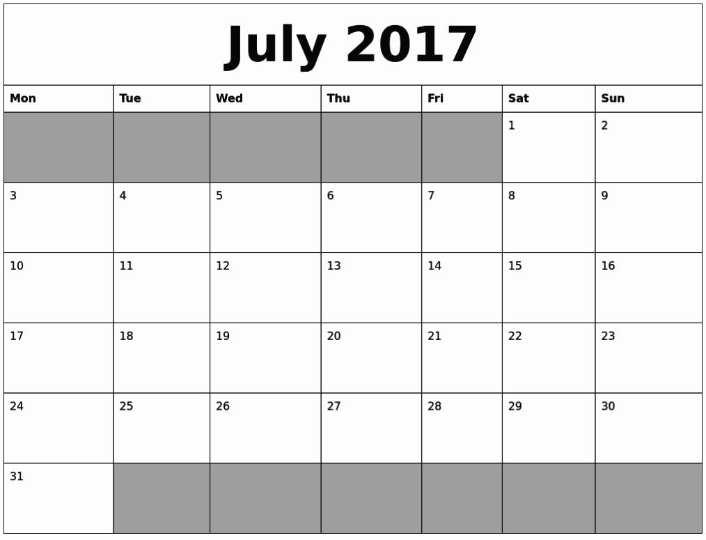 Printable Calendar 2017 Microsoft Word July 2017 Calendar