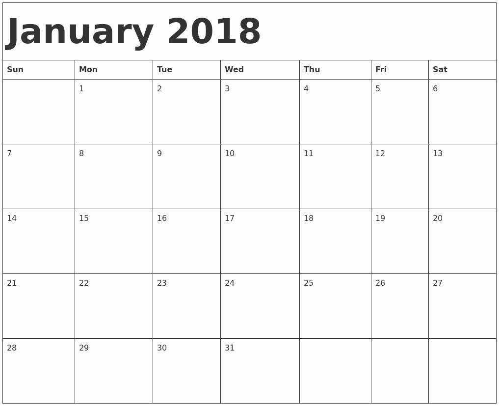 Printable Calendar 2018 [free] January 2018 Printable