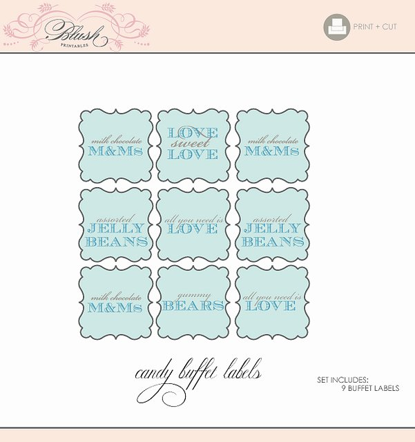 Printable Candy Buffet Tags Signs